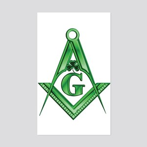 Masonic Shamrock Rectangle Sticker
