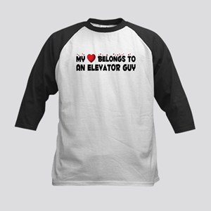 Belongs To An Elevator Guy Kids Baseball Jersey
