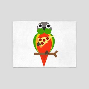 Cute Parrot Eating Pizza Cartoon 5'x7'Area Rug