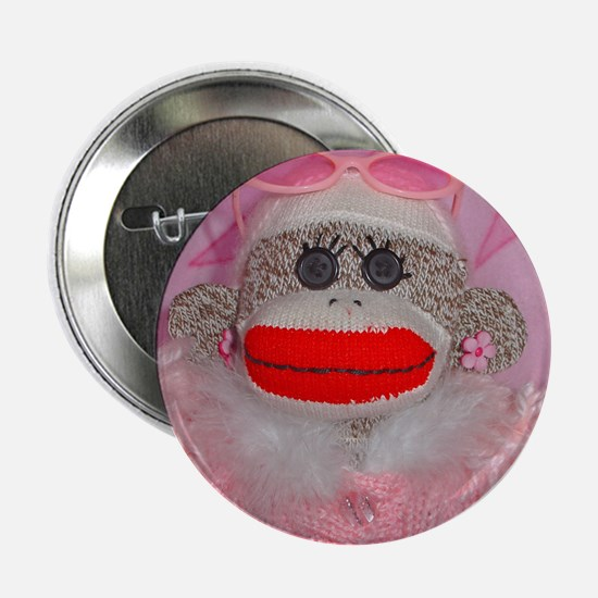 """Sock Monkey for the Cure Pink Ribbon 2.25"""" Bu"""