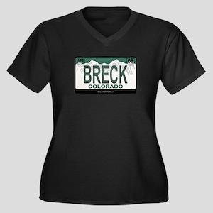 Breck License Plate Women's Plus Size V-Neck Dark