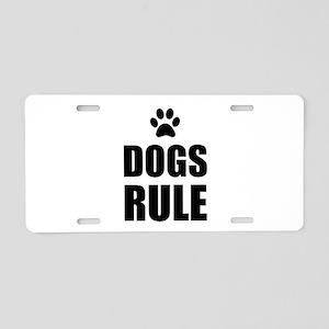 Dogs Rule Paw Pet Fan Aluminum License Plate