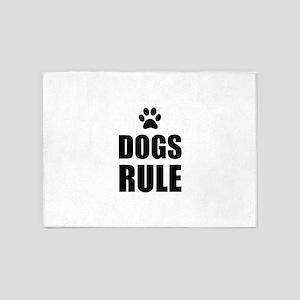 Dogs Rule Paw Pet Fan 5'x7'Area Rug