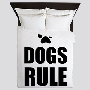 Dogs Rule Paw Pet Fan Queen Duvet