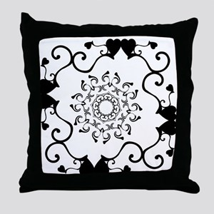 Black and White Heartswirl Throw Pillow
