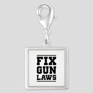 Fix Gun Laws Silver Square Charm