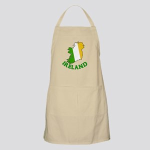 Map of Ireland in Green White and Orange BBQ Apron