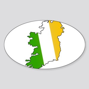 Tricolor Map of Ireland Oval Sticker