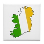 Tricolor Map of Ireland Tile Coaster