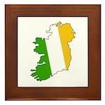 Tricolor Map of Ireland Framed Tile