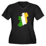 Tricolor Map of Ireland Women's Plus Size V-Neck D