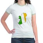 Tricolor Map of Ireland Jr. Ringer T-Shirt