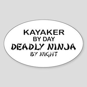 Kayaker Deadly Ninja Oval Sticker