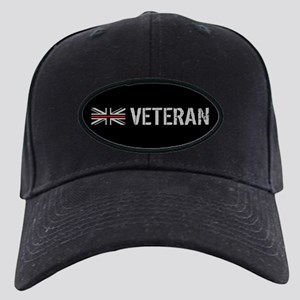 British Flag Red Line: Vetera Black Cap with Patch