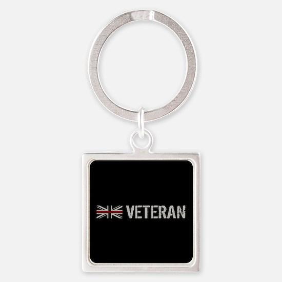 British Flag Red Line: Veteran Square Keychain