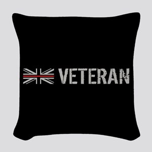 British Flag Red Line: Veteran Woven Throw Pillow