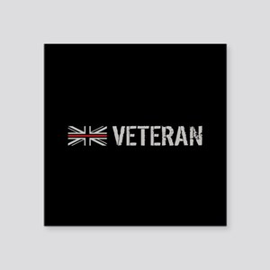 "British Flag Red Line: Vete Square Sticker 3"" x 3"""