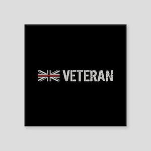 "British Flag Red Line: Vete Square Sticker 3"" x 3"""