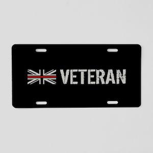 British Flag Red Line: Vete Aluminum License Plate