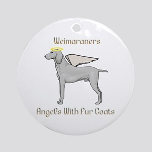 Weimaraners Angels With Fur Coats Ornament (Round)