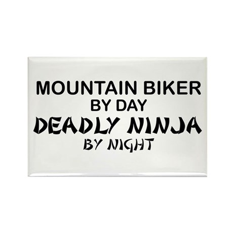 Mountain Biker Deadly Ninja Rectangle Magnet