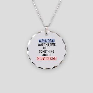 End Gun Violence Now Necklace Circle Charm