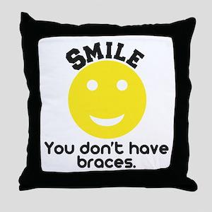 Smile braces Throw Pillow