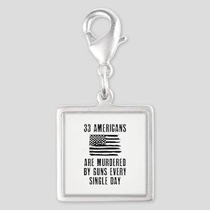33 Americans Silver Square Charm