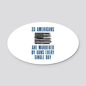 33 Americans Oval Car Magnet