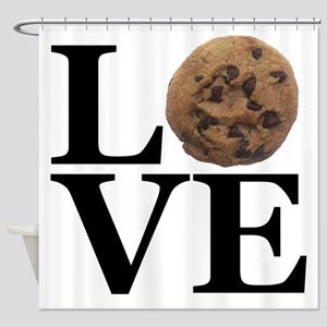 LOVE Chocolate Chip Cookie Shower Curtain