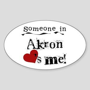 Akron Loves Me Oval Sticker