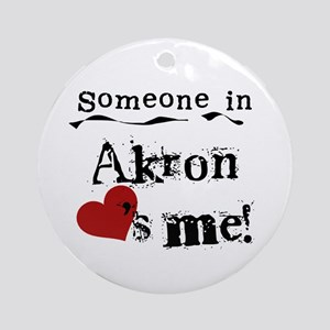 Akron Loves Me Ornament (Round)