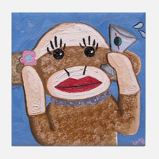 Sock Monkey Tile Coaster