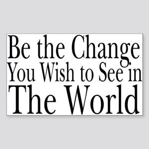 Be the Change (b&w) Rectangle Sticker