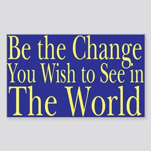 Be the Change (blue) Rectangle Sticker