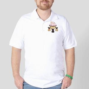Pug Dog Cupcakes Golf Shirt