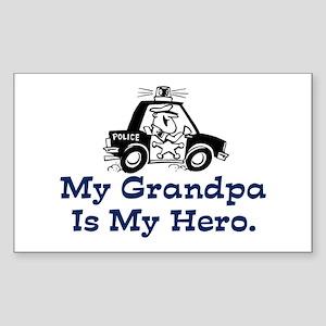 My Grandpa is my Hero (Police) Sticker (Rectangula