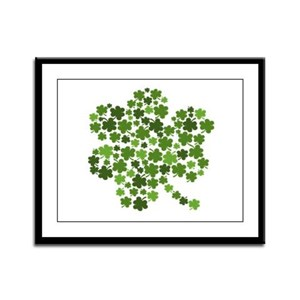 Irish Shamrocks in a Shamrock Framed Panel Print