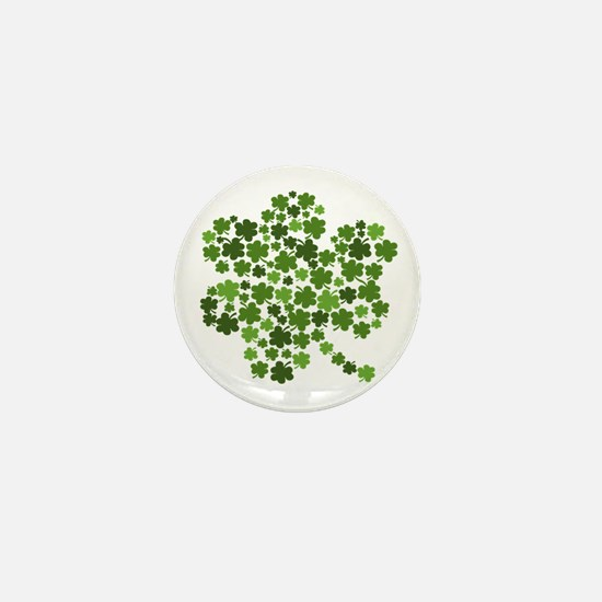Irish Shamrocks in a Shamrock Mini Button