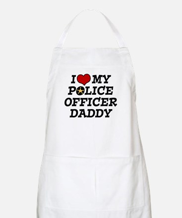 I Love My Police Officer Daddy BBQ Apron