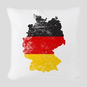 German Map Flag Woven Throw Pillow