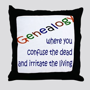 Genealogy Confusion (blue) Throw Pillow
