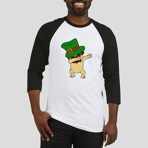 Dabbing St Patrick's Day Pug Dog L Baseball Jersey