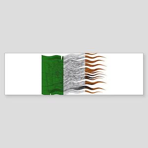 Wavy Ireland Flag Grunged Bumper Sticker