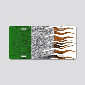 Wavy Ireland Flag Grunged Aluminum License Plate