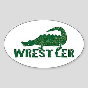 Alligator Wrestler Oval Sticker