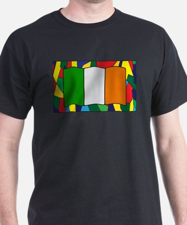 Ireland Flag On Stained Glass T-Shirt