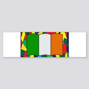 Ireland Flag On Stained Glass Bumper Sticker