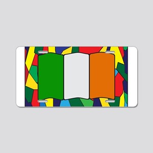 Ireland Flag On Stained Gla Aluminum License Plate