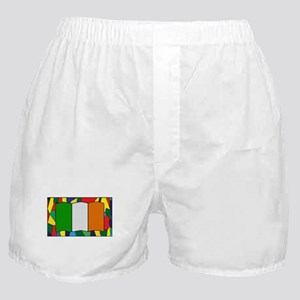 Ireland Flag On Stained Glass Boxer Shorts